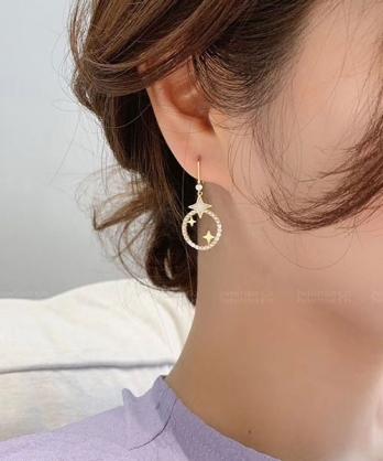 ★ 正韓 RhineRing ★ 時尚閃耀 菱形星 珍珠閃鑽圈吊墜 耳針耳環