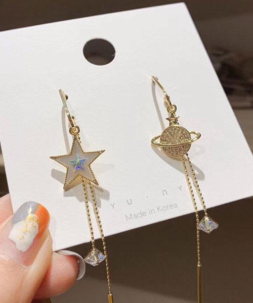 ★ 正韓 PNT ★ 時尚閃耀 不對襯 星星&星球 水鑽金屬吊墜 耳針耳環