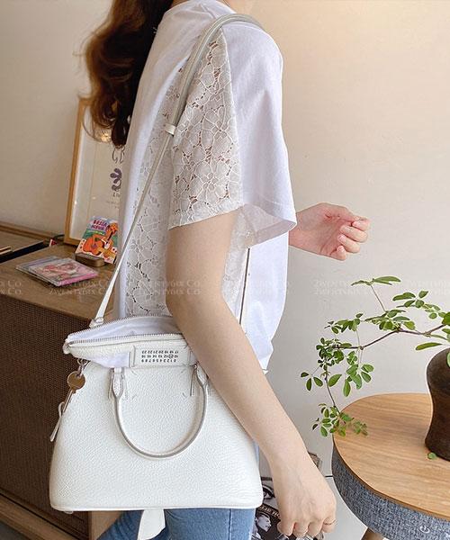 ★ 正韓 Sunny Days ★ 涼爽質感 造型半蕾絲短袖 圓領上衣 (兩色)