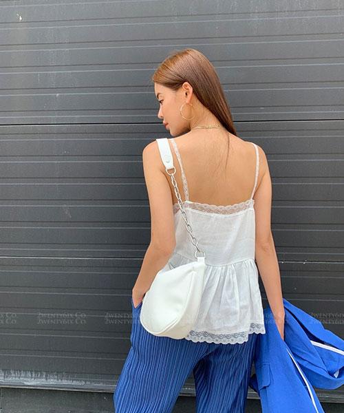 ★ 正韓 TreEN ★ 性感甜美 亞麻蕾絲花邊領 顯瘦小可愛 (兩色)