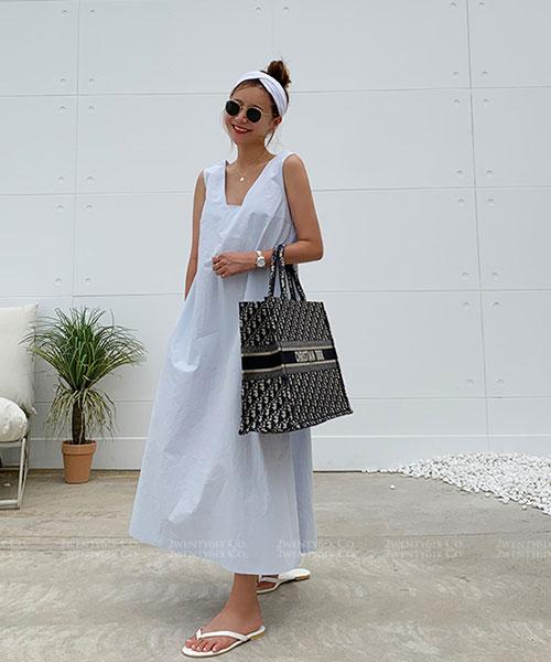 ★ 正韓 Nancy NL ★優雅甜美 造型領 口袋 純棉 寬鬆連身裙 (兩色)
