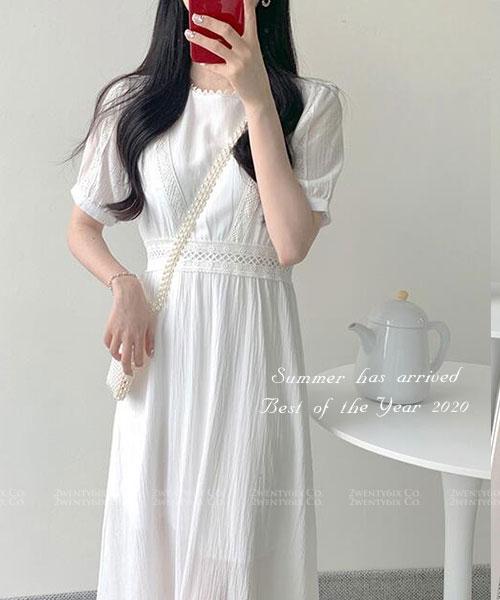 ★ 正韓 QUEENA LNN ★ 氣質優雅 甜美蕾絲雪紡連衣裙(SML)(40~63kg)