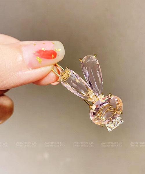 ★ 正韓 ★ Rabbit Crystal 浪漫可愛 立體晶透水晶超萌兔兔髮夾 (三色)