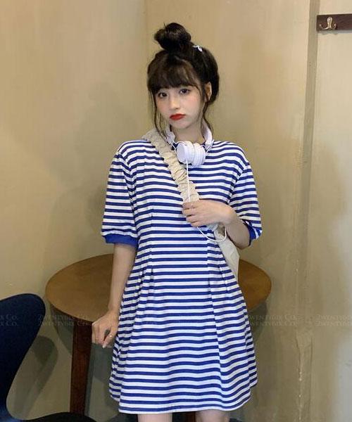 ★ 韓版 Yuri SP ★休閒俏皮 顯瘦束繩縮腰 橫條紋連衣裙 (兩色)