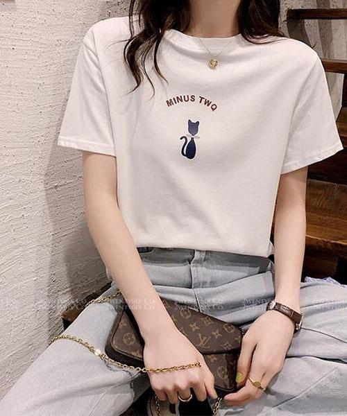 ★ 韓版 Minus Kitty ★ 日常休閒百搭 圓領短袖上衣 (三色)