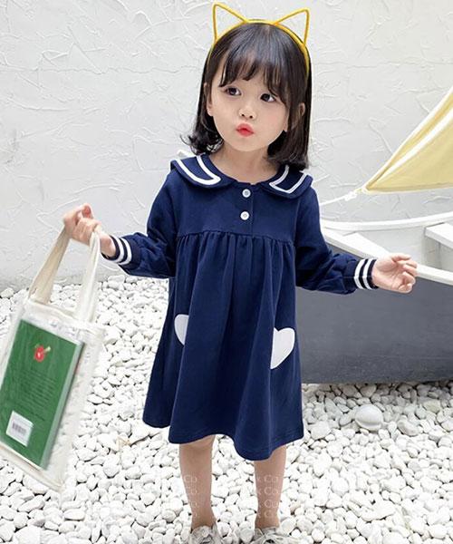 ★韓版 IVY-KSK ★俏皮可愛 翻領撞色連衣裙(兩色)(80~120cm)