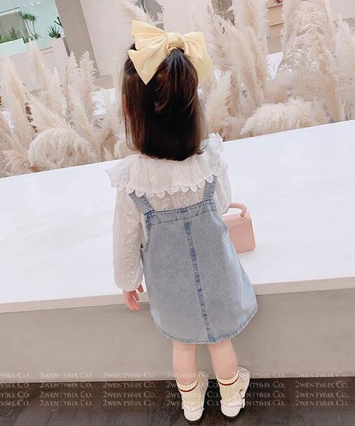 ★韓版 Freda PS★公主領長袖上衣+牛仔吊帶裙(兩件套)(80~130cm)