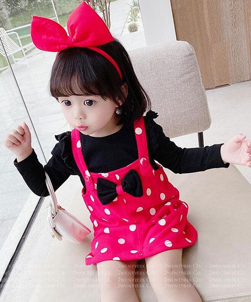 ★韓版 Minnie ★俏皮公主袖上衣+米妮蝴蝶結吊帶裙(兩件套)(90~130cm)