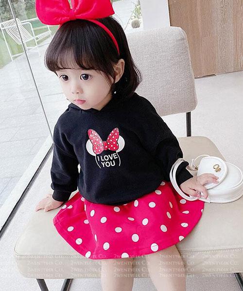 ★韓版 Minnie Love★ 可愛蝴蝶結米妮上衣+點點短裙(兩件套)(90~130cm)