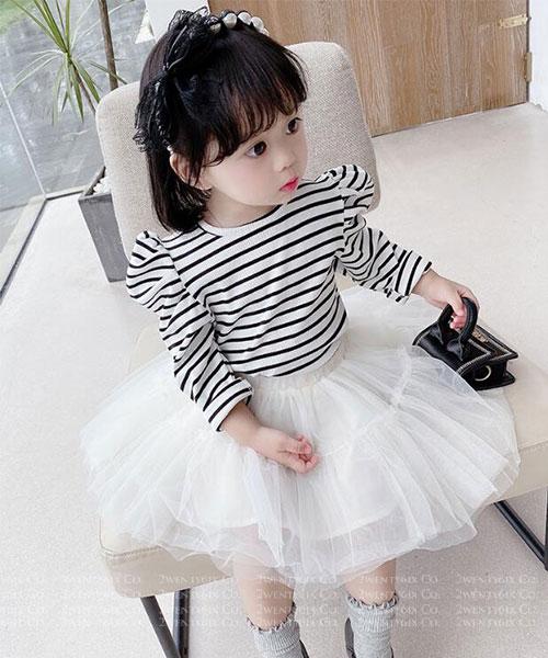★韓版 SILK-Princess ★可愛公主袖條紋上衣+紡紗短裙 (兩件套)(90~130cm)
