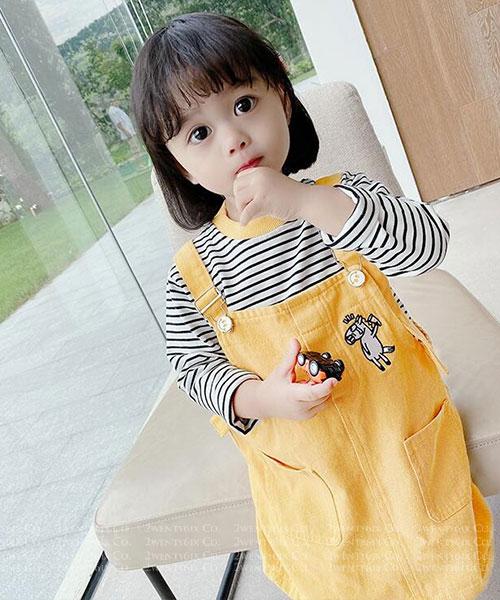 ★韓版 Pony Tee ★休閒條紋撞色上衣+小馬吊帶裙 (三色)(90~130cm)