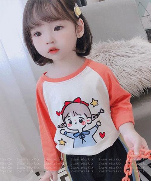 ★韓版 Fay-KDK ★休閒舒適 棉感撞色印刷長袖上衣 (四色)(80~130cm)