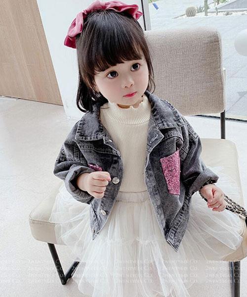 ★韓版 Gabrielle-KDK ★時尚俏麗 牛仔拼接蕾絲 牛仔外套 (90~130cm)