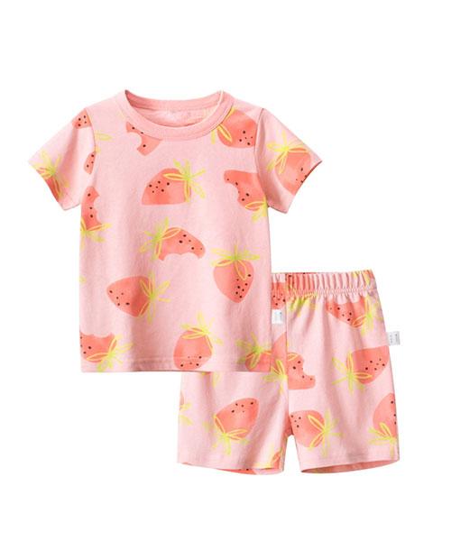 ★韓版 Frutie Set ★ 夏日悠閒 水果上衣+鬆緊短褲(兩件套)(90~140cm)