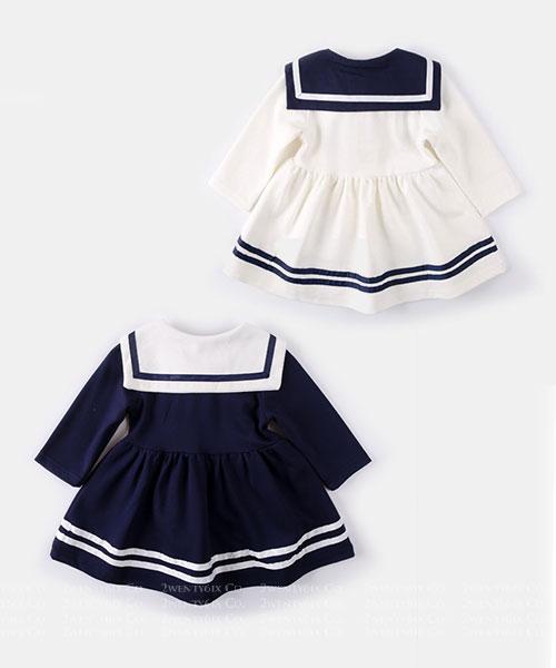 ★韓版 SAILOR KID 俏皮可愛 撞色水手服 連衣裙(兩色)(80~120cm)