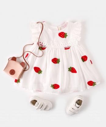 ★韓版 Straberry KD 浪漫可愛 小草莓 蕾絲棉紡無袖連身裙(73~110cm)