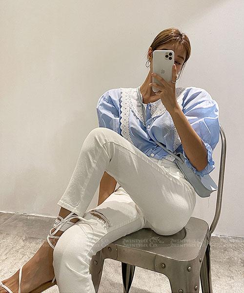 ★ 正韓 Nicola JT ★ 率性大破洞 顯瘦低彈性 扣式修身直筒長褲(兩色)(SML)