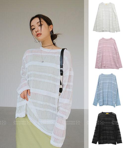 ★正韓 MIMI ROKI ★ 色彩條紋 透視造型長袖上衣 (四色)