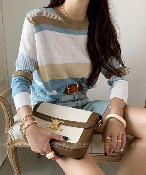 ★ 韓系 MOPEL  ★ 質感和諧 橫條紋線條 長袖針織上衣