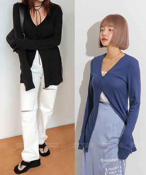 ★ 正韓 Yeori  V-Cut ★ 時尚休閒開衫顯瘦排扣長袖上衣(四色)