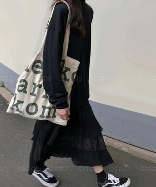 ★ 正韓 LOFFER ★ 個性休閒棉上衣 拼接雪紡不規則層次連衣裙(兩色)
