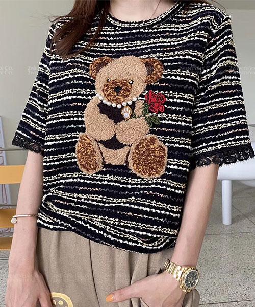 ★ 正韓 BearKnit ★ 時尚可愛 針織線條小熊 珍珠配飾短袖上衣