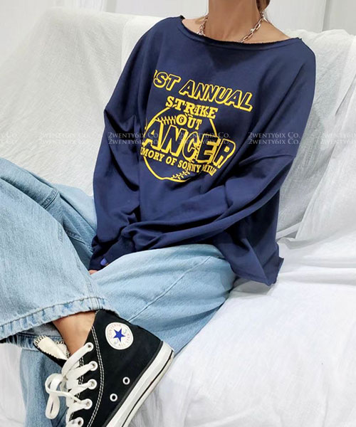 ★ 正韓 STRIKE OUT ★ 率性休閒 不休邊寬領寬鬆舒適 長袖上衣(三色)