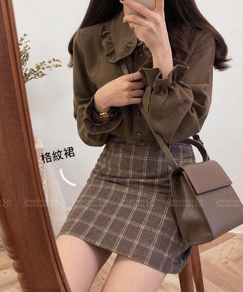 ★ 韓版 ANSEL PD ★ 經典咖啡格紋 顯瘦短裙(SML)