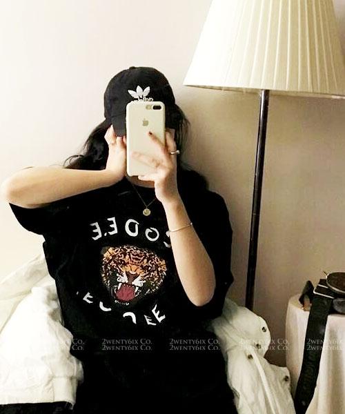 ★ 韓版 TGA TEE ★ 休閒個性 造型老虎印刷短袖上衣(兩色)