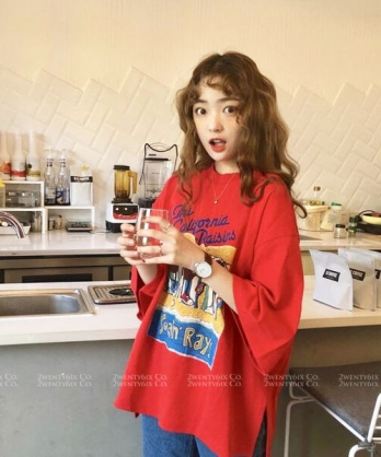 ★ 韓版 PotatoMan ★ 休閒舒適 俏皮可愛馬鈴薯人七分袖T恤(兩色)