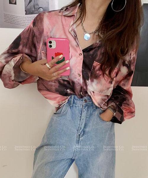 ★ 韓版 Artistic ★ 時尚造型 色彩渲染 翻領排扣長袖襯衫(三色)
