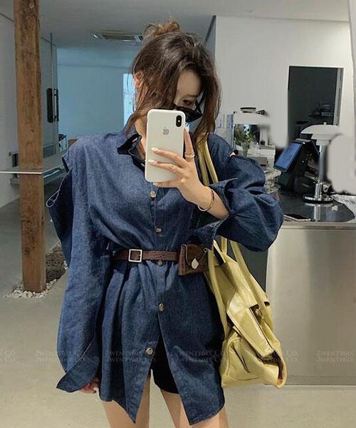 ★ 韓版 PCCO ★ 時尚帥氣挖洞寬鬆上衣+造型腰帶 (兩件套)