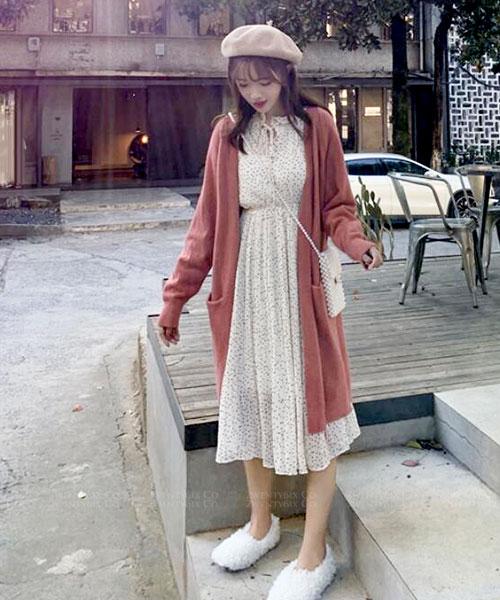 ★ 韓版 SAYA Dot ★ 浪漫優雅點點 綁帶領 雪紡顯瘦連衣裙 (兩色)