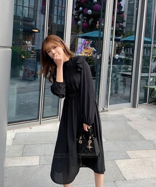★ 韓版 Vivian Wade ★ 甜美浪漫 造型皺褶拼接 雪紡連衣裙 (三色)