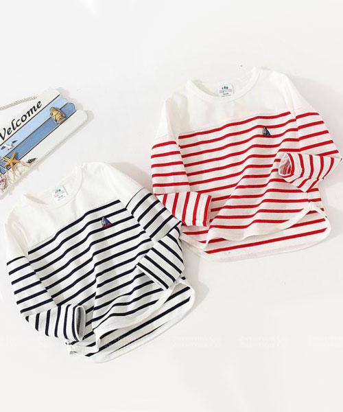 ★韓版 STRIPE KD ★休閒舒適 質感條紋圓領上衣 (兩色) (90~140cm)