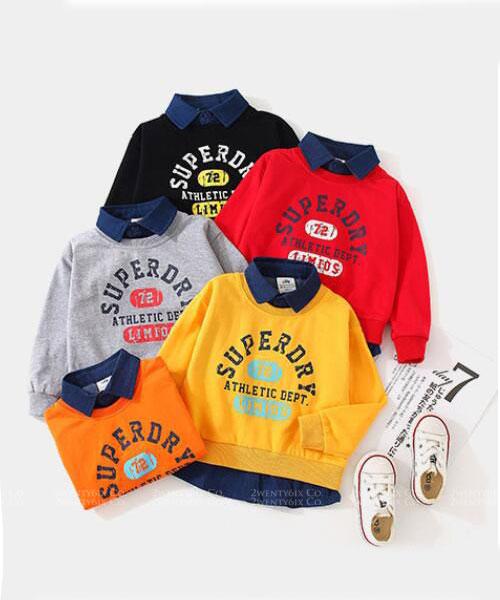 ★韓版 DEPT KD ★棉感假兩件T恤拼接翻領襯衫 (五色) (90~140cm)