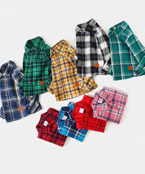 ★韓版 PLAID KD ★ 質感帥氣 翻領排扣格條紋襯衫 (11色) (90~140cm)