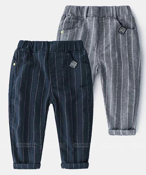 ★韓版 ST STRIPE ★休閒率性 質感直條紋口袋長褲 (兩色) (90~140cm)