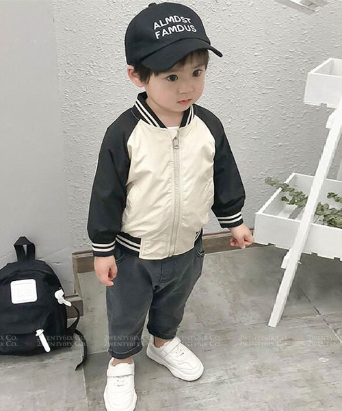 ★韓版 SPORT KD ★ 帥氣線條撞色 運動外套(兩色) (73~130cm)