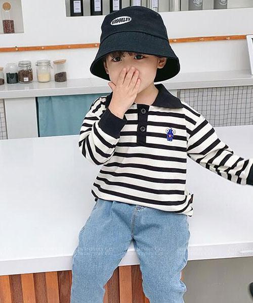 ★韓版 STRIPE BOB ★ 休閒橫條紋 翻領POLO衫 (兩色) (73~130cm)
