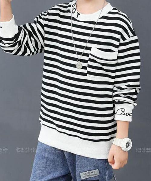 ★韓版 DOT KD ★休閒帥氣 印字領&雙袖橫條紋上衣 (兩色)(120~170cm)