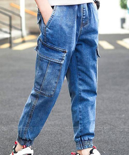 ★韓版 OVB KD ★帥氣休閒 口袋 縮口褲管牛仔長褲 (兩色) (120~170cm)