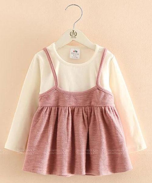 ★韓版 Dolly FD ★ 甜美可愛 假兩件 連衣裙 (兩色) (90~140cm)