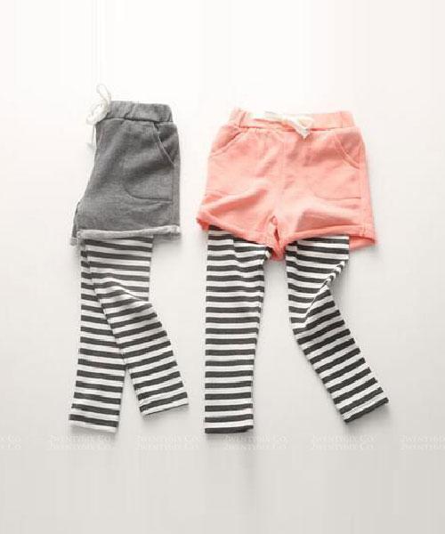 ★韓版 Candy ST ★假兩件棉短褲拼接條紋內搭褲 (兩色) (90~140cm)