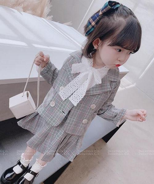 ★韓版 Fanny KD ★氣質甜美 翻領格紋外套+格紋短裙(兩件套)(兩色) (90~130cm)