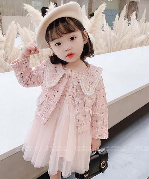 ★韓版 CORA ★ 甜美翻領格紋外套+紡紗連衣裙(兩件套)(兩色) (90~130cm)