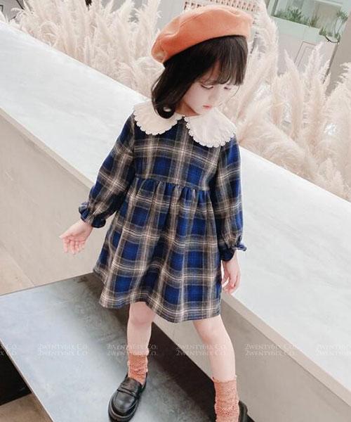 ★ 韓版 VickyPlaid ★氣質圓勾花翻領 格紋連衣裙 (兩色) (90~130cm)