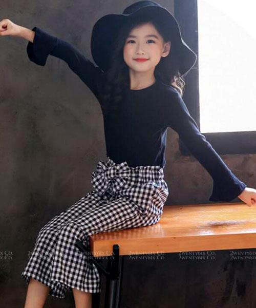 ★ 韓版 Hannah Set ★氣質公主袖上衣+蝴蝶結格紋長褲(兩件套)(兩色)(110~160cm)