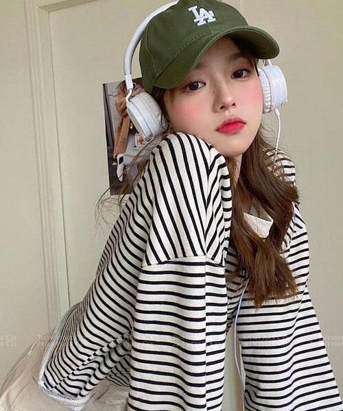 ★ 韓版 Jade Stripe ★ 休閒率性 橫條紋 寬鬆舒適上衣