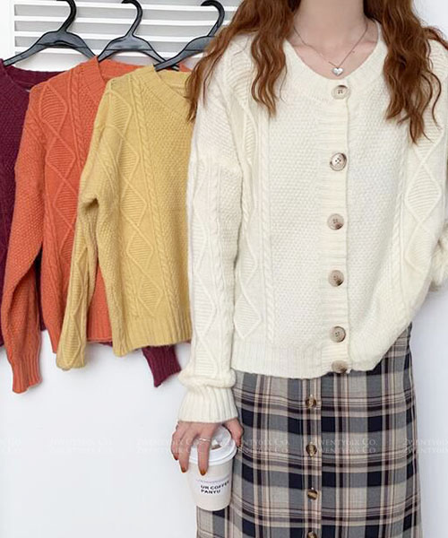 ★ 韓版 Moira Knit ★休閒甜美 百搭圓領排扣針織外套 (四色)